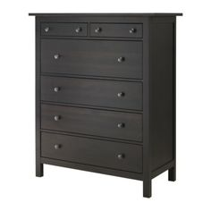HEMNES 6-drawer chest - black-brown - IKEA: Can't decide on cream walls with espresso furniture or slate walls with white accents.