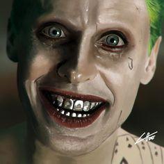 Digital painting I've made of Jared Leto as The Joker. Badass Movie, Jared Leto Joker, Dc World, Comics Love, Im Batman, Chicano Art, Dc Movies, Going Insane, Celebrity Portraits