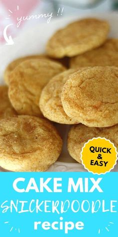 Thissnickerdoodlerecipe is super simple and quick because it is made from a cake mix. These cookies are so soft and delicious. #snickerdoodlerecipe #cookierecipe #cakemixcookies Delicious Cookie Recipes, Snack Recipes, Dessert Recipes, Yummy Food, Snacks, Desserts, Cake Mix Cookies, Yummy Cookies, Quick Cookies