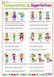 English worksheet: Adjectives  -  Comparatives and Superlatives