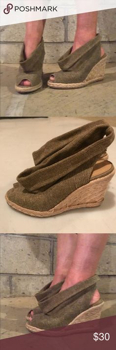 Enzo Angiolini Canvas Slouchy Wedges ▪️love love these unique wedges▪️ size 6 ▪️ very good condition, please take a look at all pictures for any imperfections; there is slight discoloration from the glue on one of the wedges ▪️from a  free &  free home Enzo Angiolini Shoes Wedges