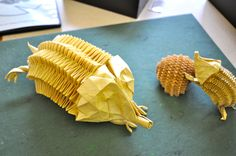 """Echidna Family"" designed and folded by Eric Joisel, each from a single, uncut square. Get to see this AWESOMENESS next week in Honolulu, SO excited!"