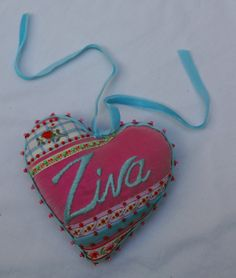 Birthday beaded and embroidered heart - by Janet Haigh