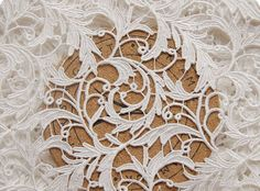 off White Lace Fabric Crocheted Embroidered by Lacefabricstore