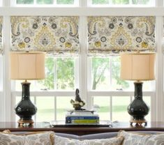 Nell Hill's blog....Let the Sun Shine In: Accent Your Decor with Yellow...WEN-0420 edited 1--- Love the fabric on the windows..yellow, gray and cream.