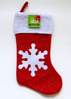 Red Sparkle Christmas Stocking White Snowflake Applique Metallic 19 in. be JOLLY #TrimAHome