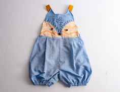 Kid's sewing pattern pdf/ romper with fox face, sizes 2T to 7Years.
