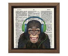 Gravura Digital Macaco Surdo - 26x26cm