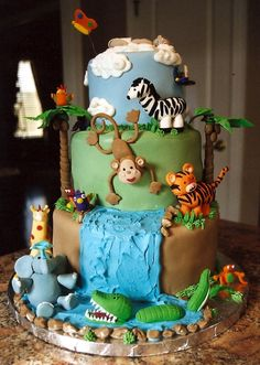 pictures of jungle baby rooms | jungle baby shower cake the mom wanted a junge cake to match her baby ...