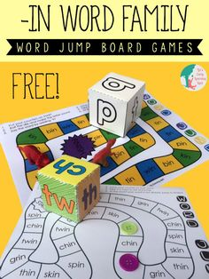 """Board games 53409945558765159 - FREE Word Family Board Game – This is such a fun, free pritnable game for kids in grade to practice words from the """"in"""" family. (homeschool phonics) Source by Word Study, Word Work, Kindergarten Reading, Teaching Reading, Teaching Ideas, Reading Games, Reading Resources, Reading Groups, Reading Strategies"""