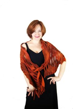 Terracotta Shawl Brown Shawl Brown Scarf Orange by elenasfelting, $75.00