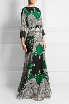 Etro | Embellished printed silk crepe de chine maxi dress