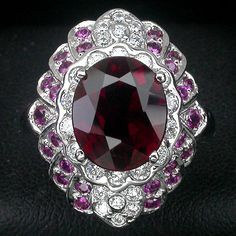 ALLURING HOT RED RUBELLITE MAIN STONE 5.10 CT. SAPP RUBY 925 SILVER RING SZ 6.5 #Handmade #Ring #ValentinesDay