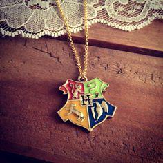 1 Pc Hogwarts Crest Gold with Enamel Harry Potter Pendant Charm Necklace. $10.00, via Etsy.