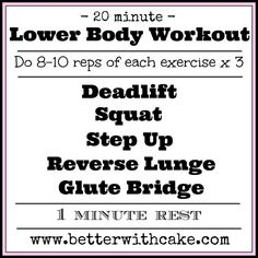 20 Minute Booty Building, Lower Body Workout - www.betterwithcake.com