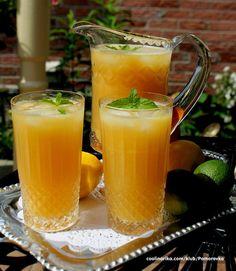 green iced tea with pineapple juice and orange juice