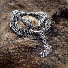Купить Молот Торра и Серебряная цепь Волки Подарок Мужчине на день рождения - серебряный