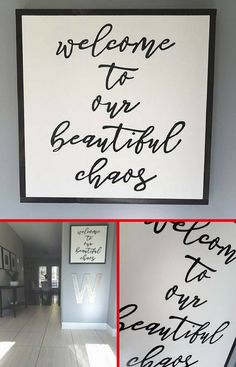 Welcome to our beautiful chaos wood sign Diy Signs, Home Signs, Rustic Farmhouse Decor, Pallet Signs, Lettering, Sign I, Sign Quotes, Little Houses, Wooden Signs