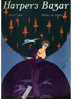 Harper's Bazar, July Design by Erté. Art Deco Artists, Great Artists, Old Magazines, Vintage Magazines, Art Deco Posters, Vintage Posters, Erte Art, Inspiration Art, Vogue