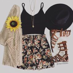 Love the cardigan, top, skirt, and necklace.