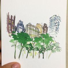 흔한 풍경 #뉴욕 #newyork . #nyc #bryantpark #그림 #일기 #doodle #today  #art #artwork #Daily #instadaily #drawing #painting #doodle #illust #illustration #pen #watercolor #감성 #색감 #글 #드로잉 #일상 #일러스트 #수채화 #그림스타그램