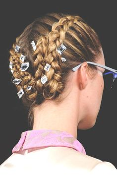 french braided and bejeweled hair