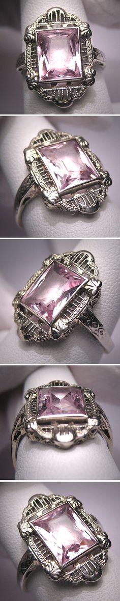 Art Deco Pink Emerald ring