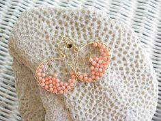 Coral Hoops Coral Beaded Hoops Beaded by NuryMenesesJewelry, $40.00