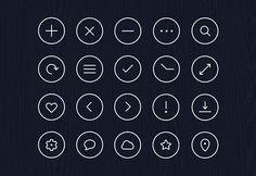 Here is an icon pack including 20 simple circle icons. Free PSD created and released byRobin Kylander.