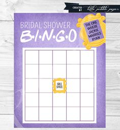 Hey, I found this really awesome Etsy listing at https://www.etsy.com/listing/228229256/friends-tv-show-bingo-shower-game-bridal