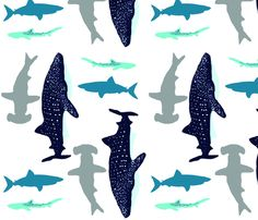 Sharks to the Left, Sharks to the Right RAILROADED fabric by studio13eleven on Spoonflower - custom fabric