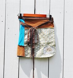 Upcycled Boho Mini Wrap Skirt in Turquoise and Light Gold/T Shirt Mini Wrap with applique/Ecletic Wrap