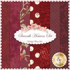 Seventh Heaven 7 FQ Set - Vintage Wine: This Seventh Heaven Set is an exclusive Shabby Fabrics creation! We have taken the guesswork out of finding coordinating fabrics. This set contains 7 coordinating fat quarters, each measuring approximately 18