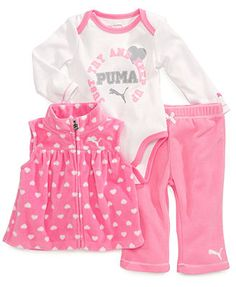 Puma Baby Girls' 3-Piece Vest, Bodysuit & Pants Set
