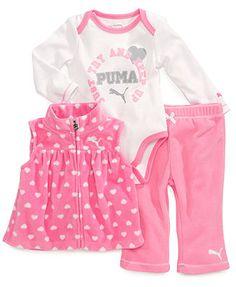 Puma Baby Girls' 3-Piece Vest, Bodysuit & Pants Set