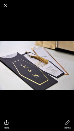 Marble and gold wedding invitation