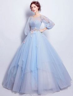 Flower Fairy Prom Dress Sky Blue Tulle Occasion by PrettyLady on Blumenfee Abendkleid Himmelblau Tüll Anlass von PrettyLady auf Evening Dresses With Sleeves, Blue Evening Dresses, Black Prom Dresses, Long Prom Gowns, Ball Gowns Prom, Blue Wedding Dresses, Beautiful Prom Dresses, Ball Dresses, Dress Long