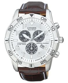 Citizen Watch, Men's Eco-Drive Perpetual Calendar Chronograph Brown Leather Strap 44mm BL5470-06A - Men's Watches - Jewelry & Watches - Macy's