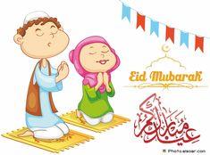 Eid Mubarak with Muslims during prayers Eid Mubarak 2016, Eid Mubarak Pic, Happy Eid Mubarak, Eid Mubark, Eid Greetings, Islamic Cartoon, Muslim Family, Eid Al Fitr, Cartoon People