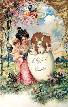 Moonlight & Roses Vintage Easter Card