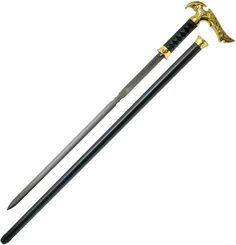 This new Axios Gold Damascus Sword Cane abounds with scrupulous details throughout its exceptional design. The shape and style of the gold-plated handle offer a sure, confident and comfortable grip. The blade locks securely into the cane shaft, and is accessed with a push of the hidden button that releases the blade locking mechanism. Kit Rae Axios Gold Damascus Sword Cane Features: 23″ 1045 carbon steel blade. 37 1/2″ overall. Handle is gold-plated cast with a metal hilt and fittings ac...