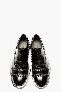 LANVIN Black Leather Woven Hardware Shoes