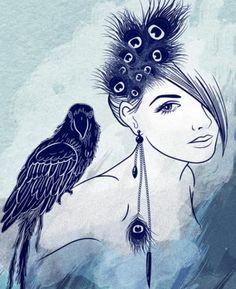 Parrot Girl by Vivian Lau Fashion Illustration Vintage, Illustration Art, Parrot Drawing, Painting Of Girl, Print Artist, Ink Art, Female Art, Art Lessons, Art Girl