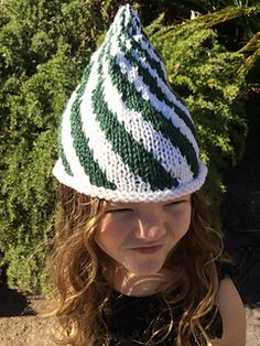 green and white elfin christmas hat.  candy cane twist hat