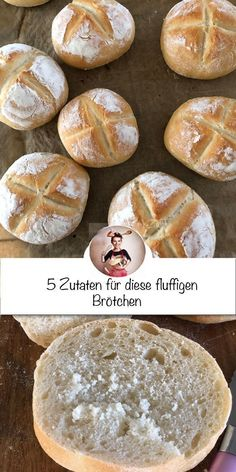 Fluffige Brötchen mit nur 5 Zutaten Making rolls yourself 👩🏻🍳What is nicer than warm, freshly baked rolls for Sunday breakfast or a cozy snack. Making fresh bread yourself is not difficult and time-c Quick Dessert Recipes, Easy Cookie Recipes, Easy Dinner Recipes, Baking Recipes, Cake Recipes, Easy Meals, Breakfast Desayunos, Baked Rolls, Recipe For 4