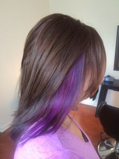 Purple, hair, hot pink, brunette, brown, chunk, chunky highlight, highlight, long hair, medium hair, brown hair