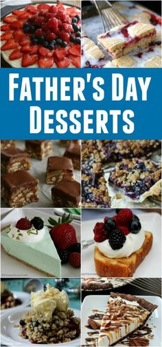 It's time to whip up Dad a special Dessert for Father's Day! Whether he likes Pies, Cakes, Cobblers or Cookies, there is sure to be one or more of these Father's Day Desserts that he will love. Homemade Desserts, Easy Desserts, Delicious Desserts, Easy Snacks, Easy Meals, Yummy Food, Cake Recipes, Dessert Recipes, Yummy Recipes