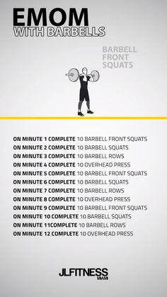 crossfit workouts at home 12 Minute EMOM With Barbells Pilates Workout Videos, Workout Videos For Men, Workout Hiit, Yoga Pilates, Band Workout, Cardio Training, Workout Diary, Workout Plans, Dumbbell Workout
