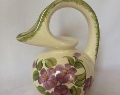 Cash Family Pottery Ewer Vase, Vintage Cash Family Vase, Vintage Flowered Ewer Vase