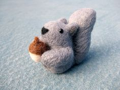 Grey Squirrel Miniature - Needle Felted Animal - Soft Sculpture - Made to Order. $22.00, via Etsy.